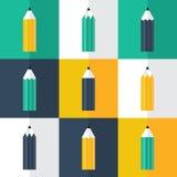 Flache Ikonen des Bleistifts eingestellt Lizenzfreie Stockfotos