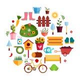 Flache Ikonen des Frühlings-Garten-Weiß Designvektorillustration Satz Natur-Gartenarbeit-Werkzeug-Einzelteile Stockfotos