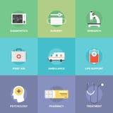 Flache Ikonen des Gesundheitswesens und der Medizin Stockfotos