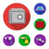 Flache Ikonen des Hotels und der Ausrüstung in der Satzsammlung für Design Hotel und Komfort vector Netzillustration des Symbols  Lizenzfreie Stockbilder
