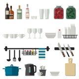 Flache Ikonen des Küchengeschirrs Lizenzfreie Stockfotografie