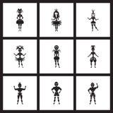 Flache Ikonen des Konzeptes in den Schwarzweiss-Karnevalstänzern Lizenzfreies Stockfoto