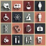 Flache Ikonen des medizinischen Vektors eingestellt Lizenzfreie Stockfotos