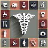 Flache Ikonen des medizinischen Vektors eingestellt Lizenzfreies Stockfoto