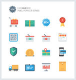 Flache Ikonen des perfekten E-Commerce des Pixels Stockbilder