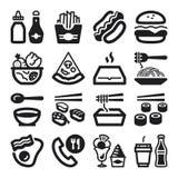 Flache Ikonen des Schnellimbisses und der ungesunden Fertigkost. Schwarzes Lizenzfreies Stockfoto