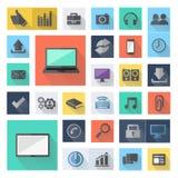 Flache Ikonen des Technologiegeschäfts, modernes Schablonendesign der Vektorillustration Lizenzfreies Stockfoto