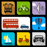Flache Ikonen des Transportes Lizenzfreie Stockfotos
