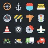 Flache Ikonen des Transportes Stockfotos