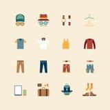 Flache Ikonen des Vektornetzes stellen ein - bemannen Sie Bekleidungsgeschäftsammlung obj Stockfotos
