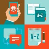 Flache Ikonen des Vektors - Übersetzung und Sprache Stockfoto