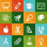 Flache Ikonen des Vektors - Ausbildung und Wissenschaft Lizenzfreies Stockbild