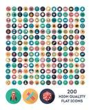 200 flache Ikonen des Vektors der hohen Qualität Lizenzfreies Stockfoto
