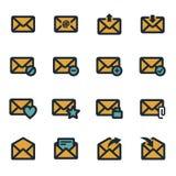 Flache Ikonen des Vektors E-Maileingestellt Stockbilder