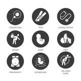 Flache Ikonen des Vektors kreisen gesetzte Schwangerschaftstipps für schwangere Frauen ein Lizenzfreie Stockfotografie
