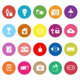 Flache Ikonen des Versicherungszeichens auf weißem Hintergrund Stockfotografie