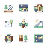 Flache Ikonen des Waldtourismus Lizenzfreie Stockbilder