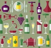 Flache Ikonen des Weins eingestellt Stockbilder