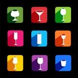 Flache Ikonen des Weinsatzes für Netz/bewegliche Anwendung Lizenzfreie Stockbilder
