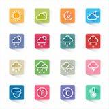 Flache Ikonen des Wetters eingestellt und weißer Hintergrund Lizenzfreie Stockbilder