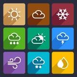 Flache Ikonen des Wetters stellten 27 ein vektor abbildung