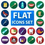 Flache Ikonen des Zahnpflegen in der Satzsammlung für Design obacht lizenzfreie abbildung