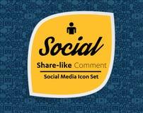 Flache Ikonen in einer Spracheblasenform: Technologie, Social Media, Netz, Linkcomputerkonzept Abstrakte Hintergrundgruppe elemen Lizenzfreie Stockbilder