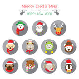 Flache Ikonen eingestellt: : Weihnachten, Sankt u. Tiere Stockfoto
