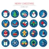Flache Ikonen eingestellt: Weihnachtsgegenstände mit Schneefällen Stockfotos