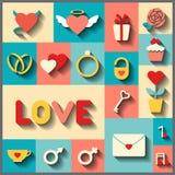 Flache Ikonen für die Heirat oder Valentinsgrußtag Lizenzfreies Stockfoto