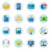 Flache Ikonen für Finanzikonen-und Geschäfts-Ikonen-Vektor-Illustration Lizenzfreies Stockbild