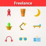 Flache Ikonen für freiberuflich tätiges und Geschäft Lizenzfreie Stockfotografie