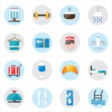 Flache Ikonen für Hotel-Ikonen-und Reise-Ikonen-Vektor-Illustration Stockfoto