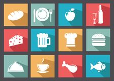 Flache Ikonen für Lebensmittel und Getränke Stockfotografie