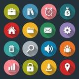 Flache Ikonen für Netz und Mobile, weiß auf farbiger Basis mit langem Schatten Stockbild