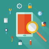 Flache Ikonen für Tablet-PC und Suche Lizenzfreies Stockbild
