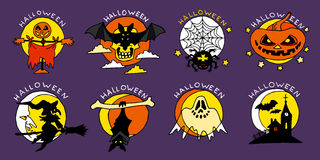 Flache Ikonen glücklicher Halloween-Karikatur Lizenzfreie Stockbilder
