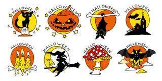 Flache Ikonen glücklicher Halloween-Karikatur Stockfotos