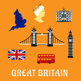 Flache Ikonen Großbritannien-Reise Stockbilder