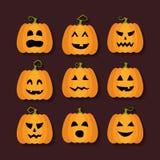 Flache Ikonen Halloween-Kürbise eingestellt stock abbildung