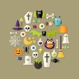 Flache Ikonen Halloweens eingestellt über hellbraunes lizenzfreie abbildung