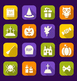 Flache Ikonen Halloweens mit langen Schatten Lizenzfreie Stockfotos