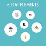 Flache Ikonen-Identität, amerikanische Fahne, Grab und andere Vektor-Elemente Satz flache Ikonen-Erinnerungssymbole umfasst auch Stockfoto