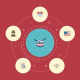 Flache Ikonen-Identität, amerikanische Fahne, Musikinstrument und andere Vektor-Elemente Satz flache Ikonen-Erinnerungssymbole Lizenzfreies Stockbild