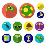 Flache Ikonen Land-Brasiliens in der Satzsammlung für Design Reise und Anziehungskräfte Brasilien vector Netz des Symbols auf Lag Lizenzfreie Stockbilder