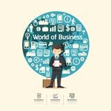 Flache Ikonen mit dem Geschäftsmanncharakterdesign infographic Stockfotos