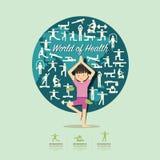 Flache Ikonen mit dem Yogamädchen-Charakterdesign infographic, Gesundheit Lizenzfreie Stockfotografie