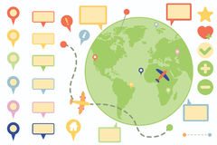 Flache Ikonen-Navigations-Ikonen eingestellt Lizenzfreies Stockfoto