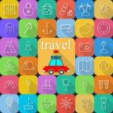 Flache Ikonen Reisens und des Transportes für Netz und bewegliche Anwendungen Stockbild