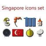 Flache Ikonen Singapurs eingestellt Stockbild